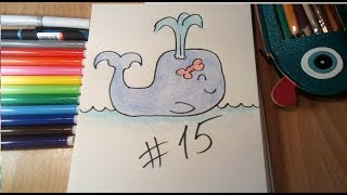 simple drawing / простые рисунки #15 Рисуем кита  , вместе с вами