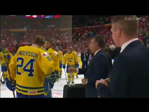 Sweden Player (Lias Andersson) Throws Silver Medal Into The Crowd - 2018 World Juniors