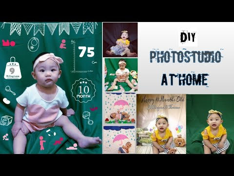Simple DIY Studio at home and DIY paper raindrops #monthlyshoot #diy #photoshootsthome #changingback