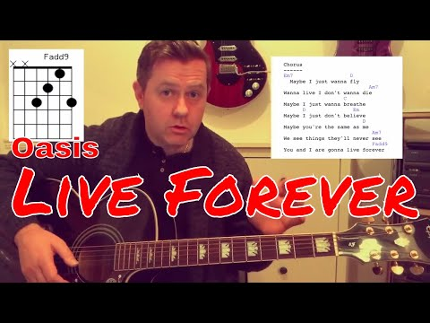 Oasis - Live Forever - Acoustic Guitar Lesson (Chords