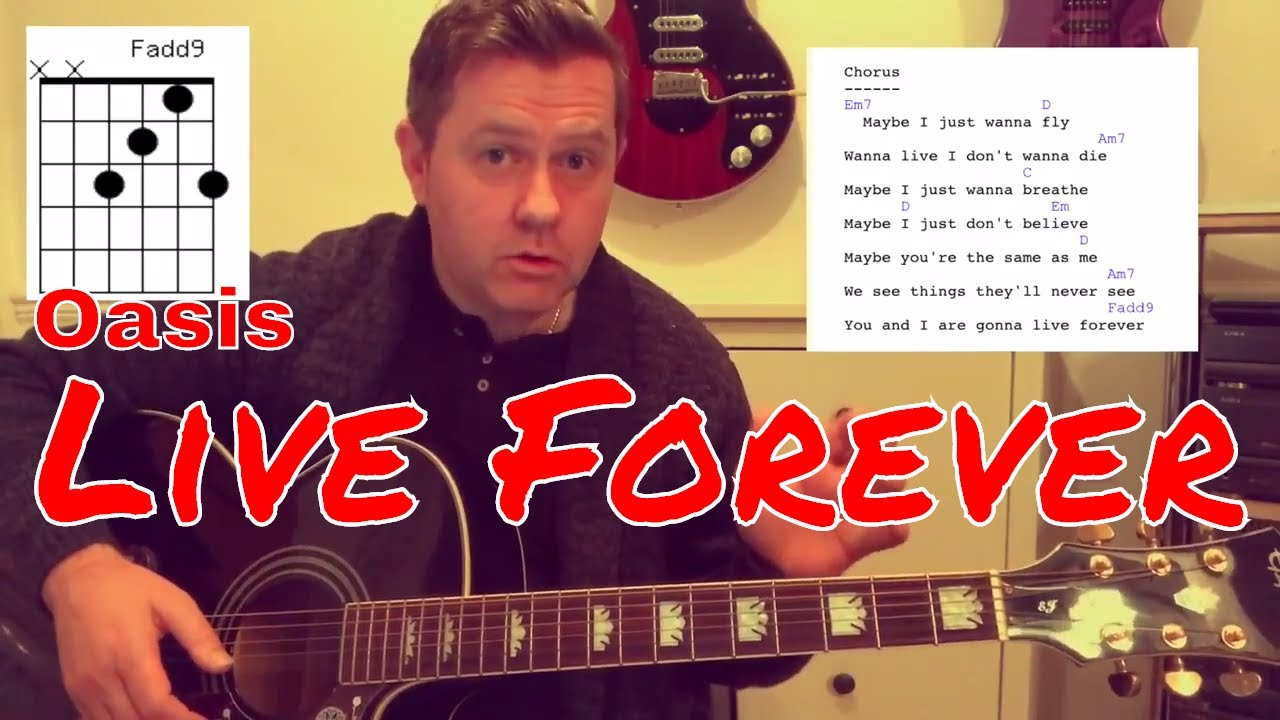 Oasis Live Forever Acoustic Guitar Lesson Chords Lyrics