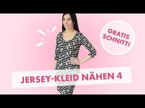 Kleid aus Jersey nähen (Teil 4): Halsausschnitt mit Bündchen nähen