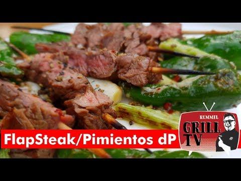 Flap-Steak-Spieße mit Pimentos