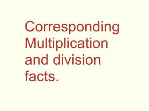Multiplication and division facts.
