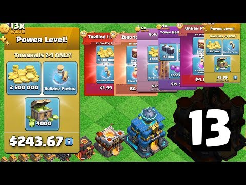 Buying 33 Packages! Town Hall 2-13 Clash To MAX Episode 3