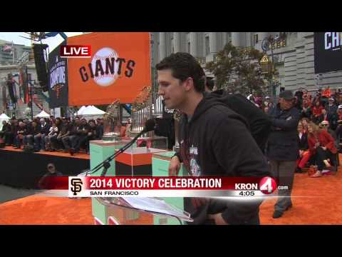 Giants Celebration Video   Madison Bumgarner Buster Posey and Ryan Vogelsong