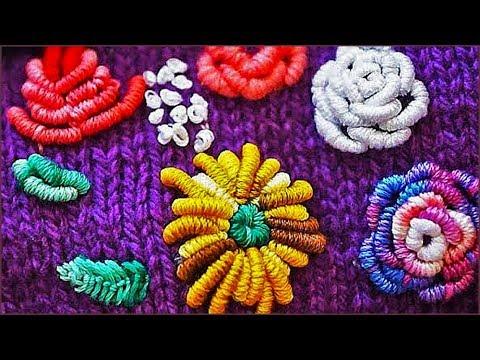 вышивка на вязаных изделиях вышивка по трикотажу вышивка цветов
