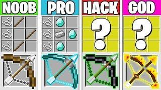 Minecraft Battle: SUPER BOW CRAFTING CHALLENGE! NOOB vs PRO vs HACKER vs GOD in Minecraft Animation
