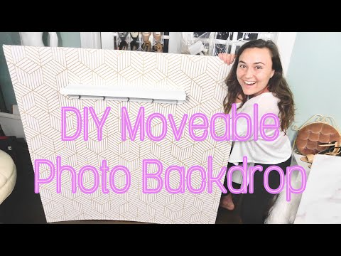 DIY PORTABLE PHOTO BACKDROP with floating shelf!