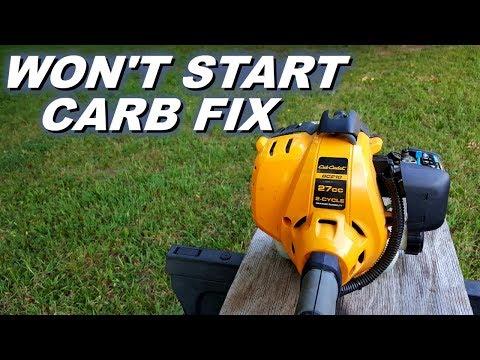 Trimmer doesn't start,  carb rebuild.