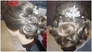 Bridal Hairstyle For Long hair Tutorial /  Updo For Wedding / Simple Hairstyle for Party/Function