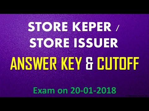 Answer Key Cutoff  Store Keeper / Store Issuer / Village Field Assistant   Gurukulam Classes