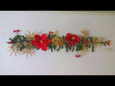 Haz una hermosa gu a navide a para pared o puerta youtube for Arreglo para puertas de navidad