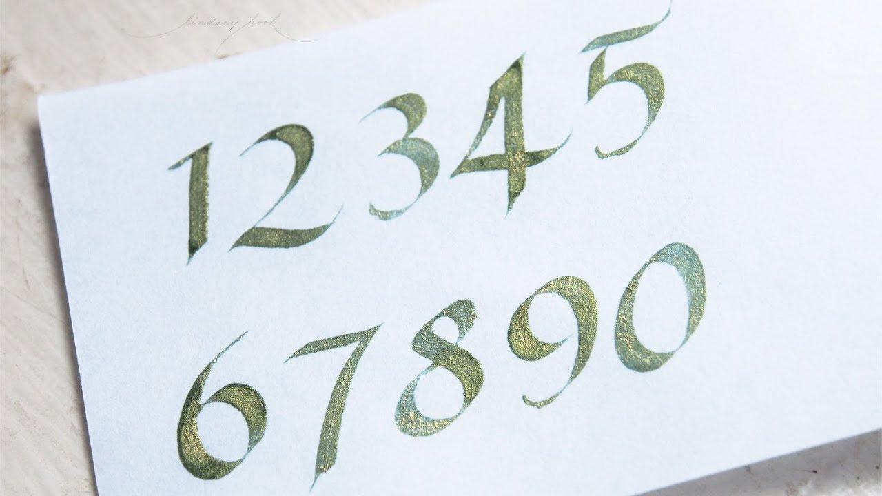 Italic Calligraphy Alphabet - Numbers