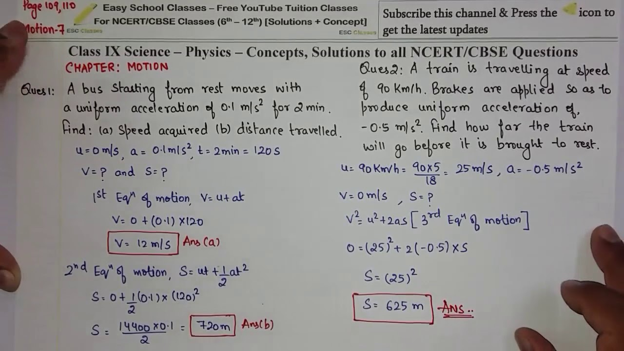 Chapter 8 Motion NCERT Page 109-110 Exercise Questions Solutions in Hindi -  Class 9 Physics Science