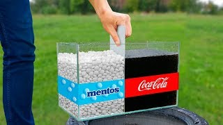 experiment: Coca Cola and Mentos in to Giant Balloon! Super Reaction!