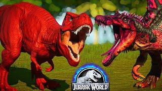 Tyrannosaurus Rex vs Spinosaurus, Malusaurus, Carnotaurus Dinosaurs Fight - Jurassic World Evolution