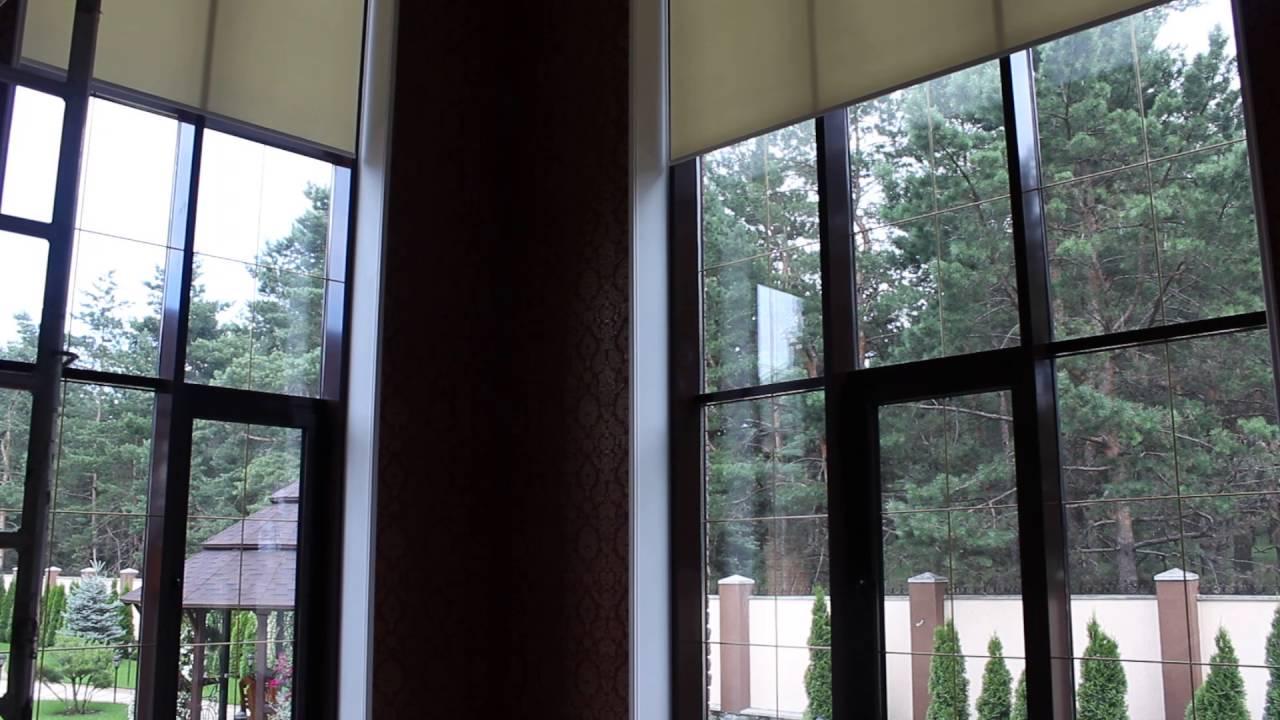 рулонные шторы ролеты панорамные окна большие размеры с электроприводом