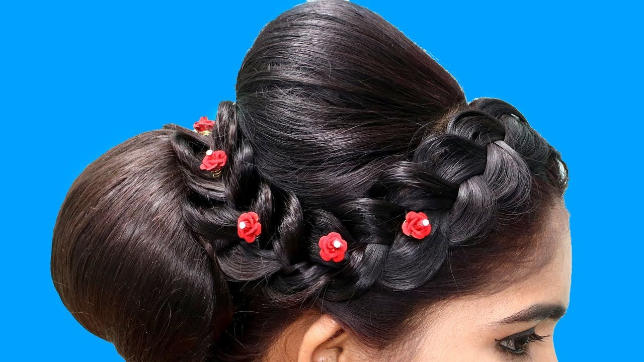 updo puff braided bun hairstyles || juda puff braid hairstyle || hair style girls