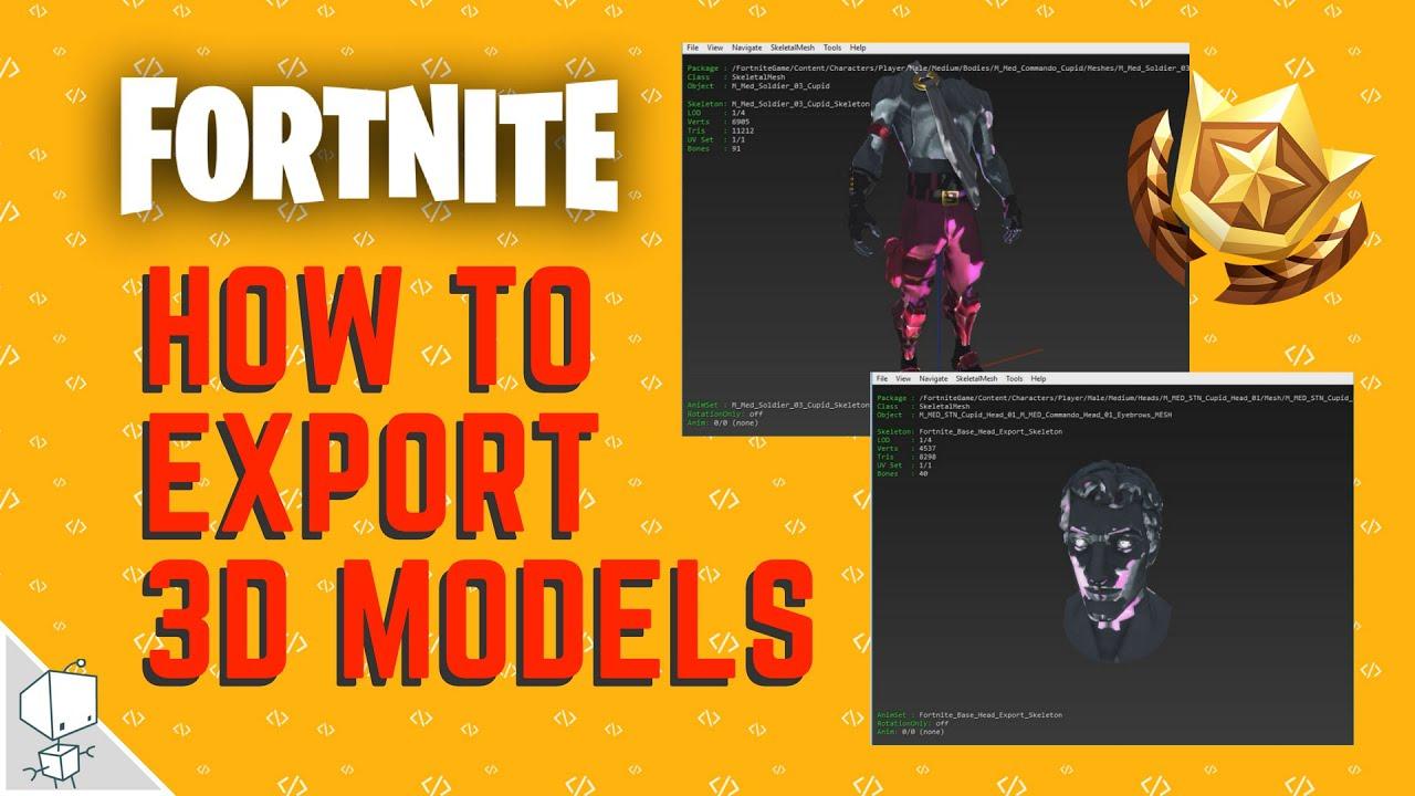#1 How to Export Fortnite 3d models - umodel blender 3d max maya c4d