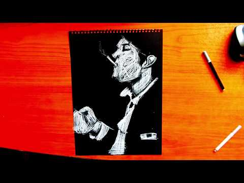 Portrait Drawn Entirely By Scribbling | Scribble Drawing