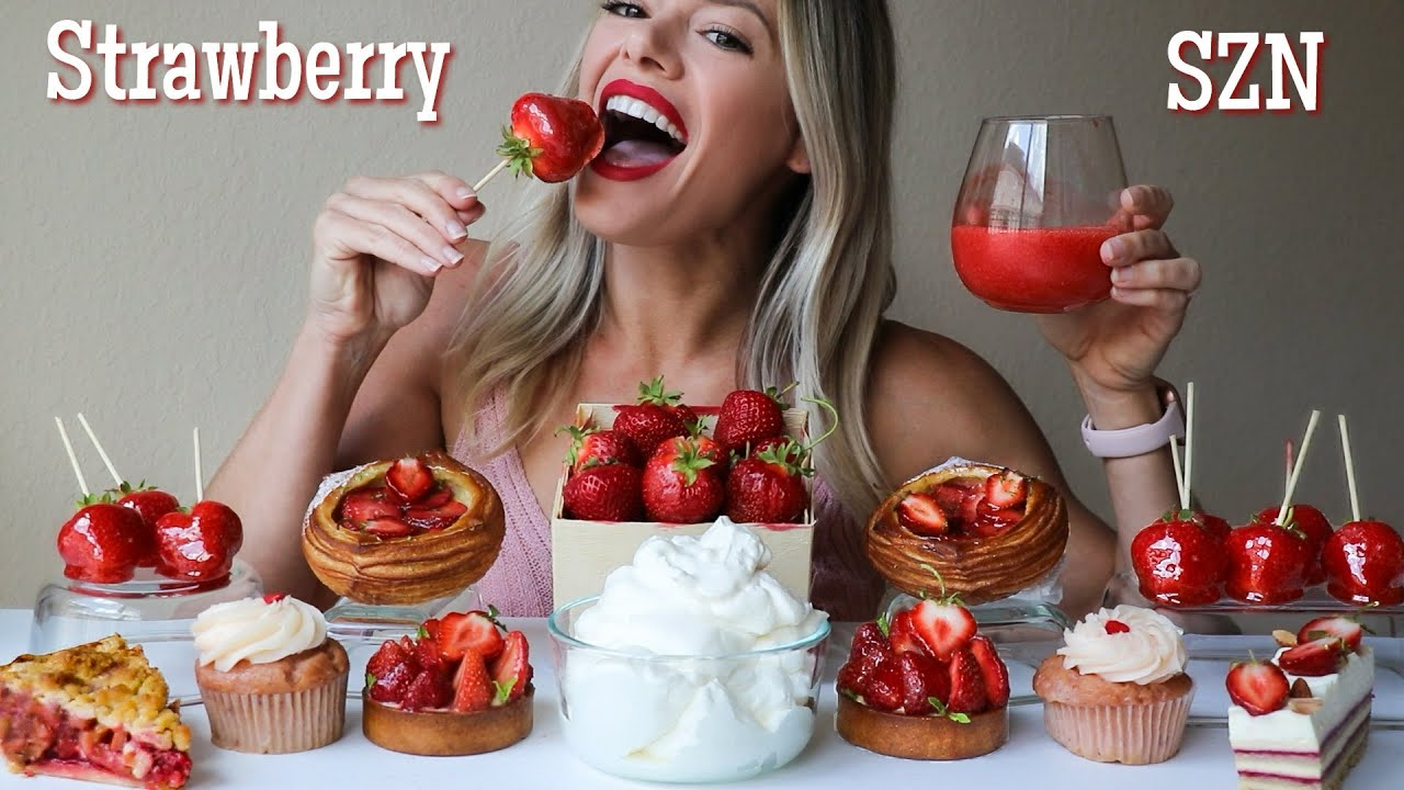 Strawberry MUKBANG | Fresh Strawberry, Tanghulu, Pastries, Cupcakes and Strawberry Rhubarb Pie!