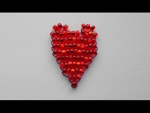 Сердце из бисера методом параллельного плетения!