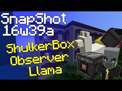 Minecraft 1.11 Snapshot 16w39a : Shulker Box, Llama