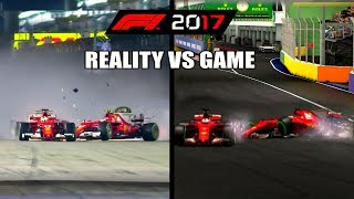 F1 2017 REAL LIFE CRASHES VS GAME