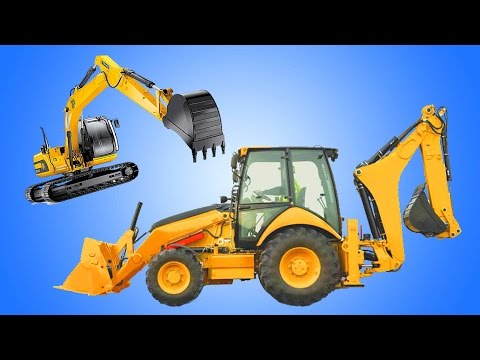 Backhoe Excavator | Kids Show Construction Vehicles on Job Site | Animation Cartoon