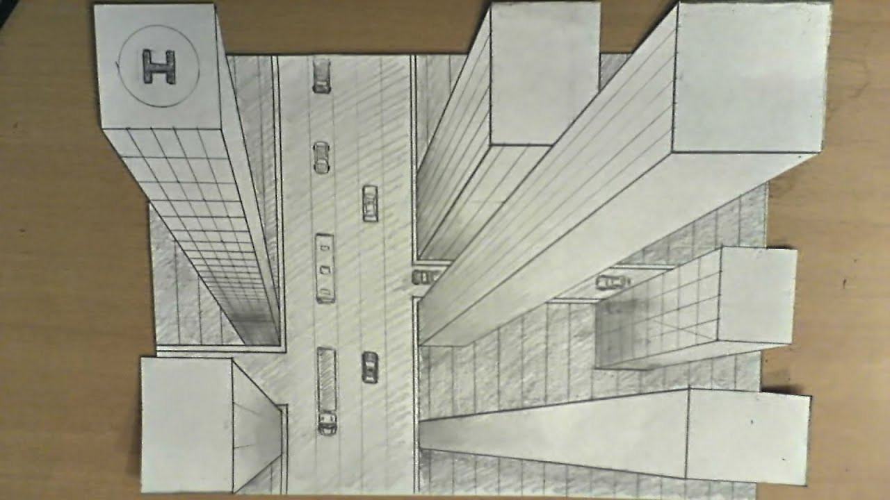 Perspective Drawings Of Buildings how to draw - one point perspective, 3d illusion, high-rise