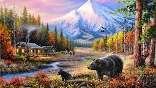 acrylic landscape painting timelapse mountain cabin