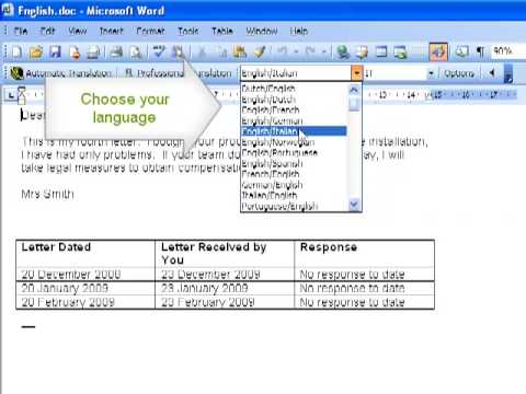 how to change microsoft word to french