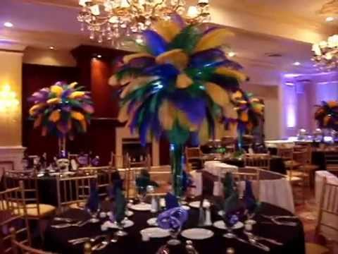Mardi Gras Ball Decorations Glamorous Mardi Gras Themed Ostrich Feather Centerpieces Rentals At The Inn Decorating Design