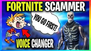 SCAMMER Uses Voice Changer LOSES STACKED Battle Royale ACCOUNT! (Fortnite Skull Trooper Acc Scammer)