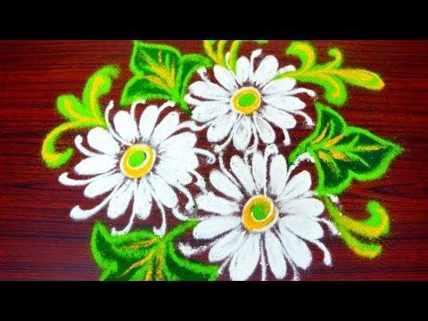 simple flower rangoli designs for sankranthi - latest pongal kolam designs - muggulu designs