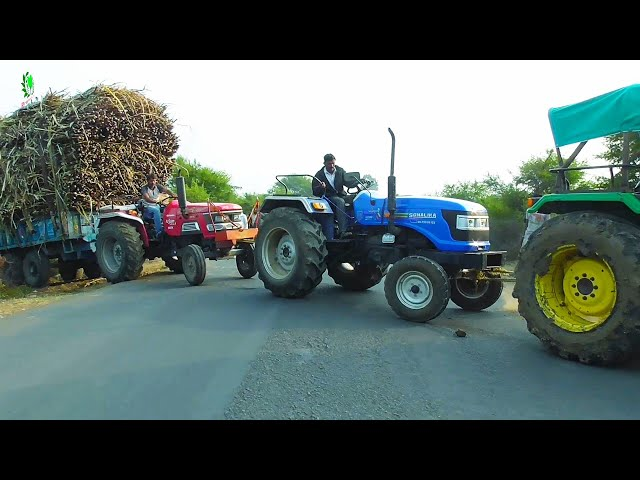 Mahindra Arjun 555 Di Pulling Loaded trailer of Sugarcane Sonalika 750 Di and John Deere Pulling