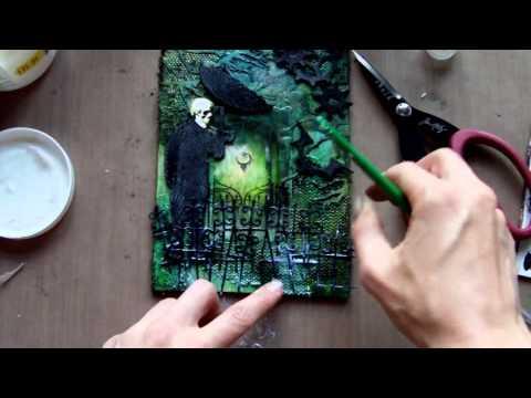 Mixed Media Art Canvas - Gothic Halloween