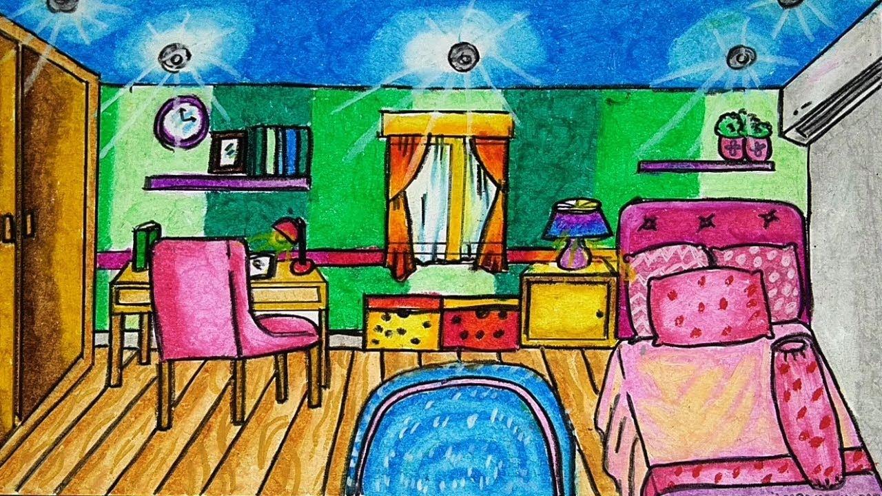 Cara Menggambar Dan Mewarnai INTERIOR RUMAH KAMAR TIDUR Dengan Gradasi Warna Crayon Oil Pastel