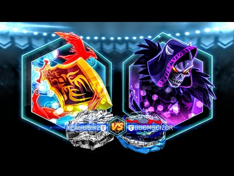 Beyblade Burst Evolution Hasbro App: Platinum Xcalius X2 vs Doomscizor