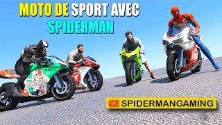 MOTO de sport avec Spiderman et défi de rampe de super héros sur l'eau avec les personnages de GTA 5