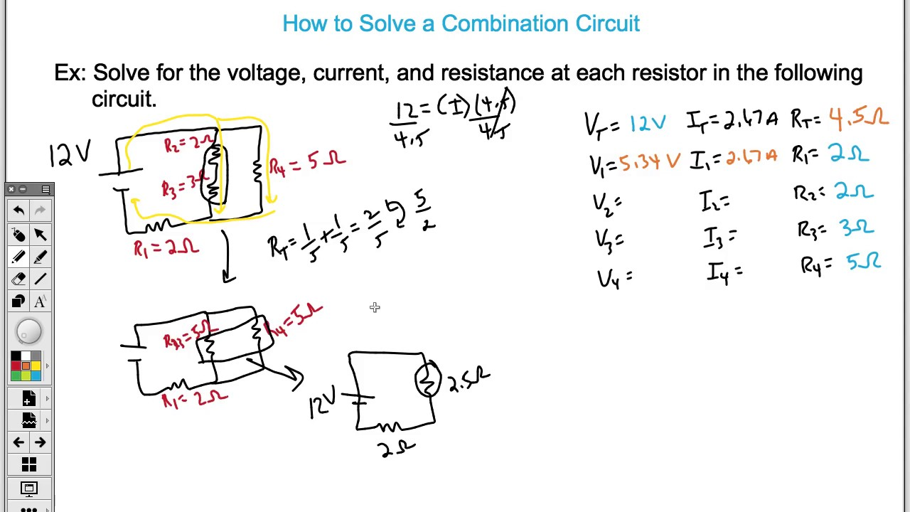 how to solve a combination circuit easy  [ 1280 x 720 Pixel ]