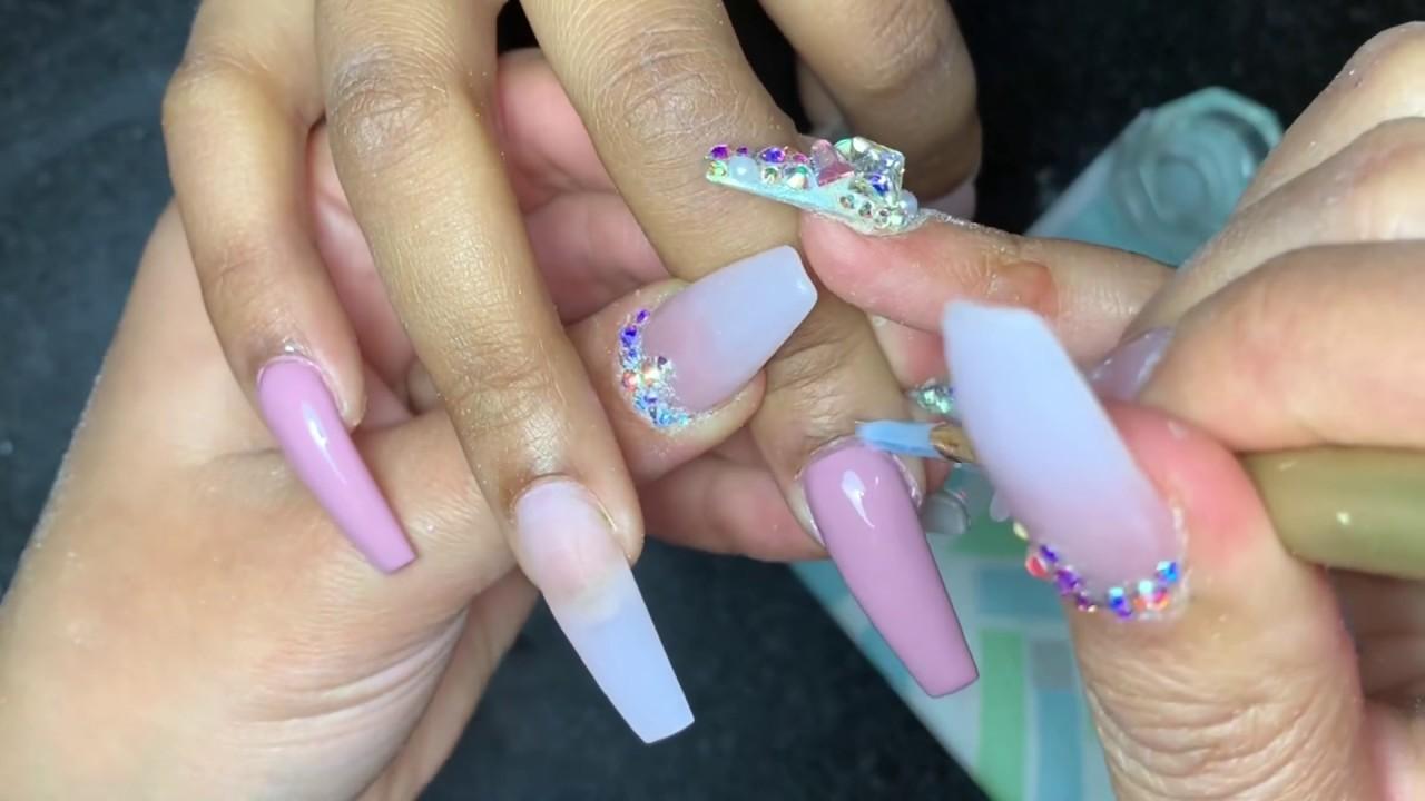 Acrylic Nails Tutorial | Pink Bling Nails | Acrylic Coffin ...