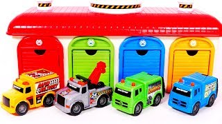 Learn Colors with Car Toy Vehicles for Children and Parking Garage Playset for Kids