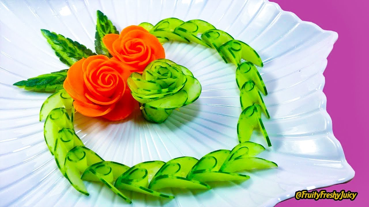 Fruits and vegetables carving designs - Lovely Cucumber Carrot Rose Flower Design Fruit Vegetable Carving Cutting Garnish Youtube