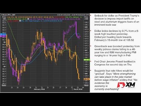 Forex News: 2/03/2018 - Trump tariffs knock down dollar and stocks; yen surges