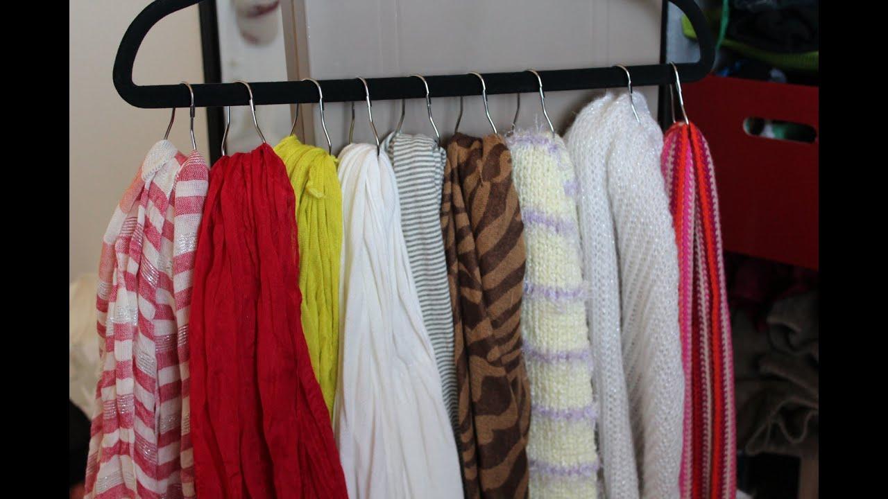 diy scarf organizer display cheap and easy