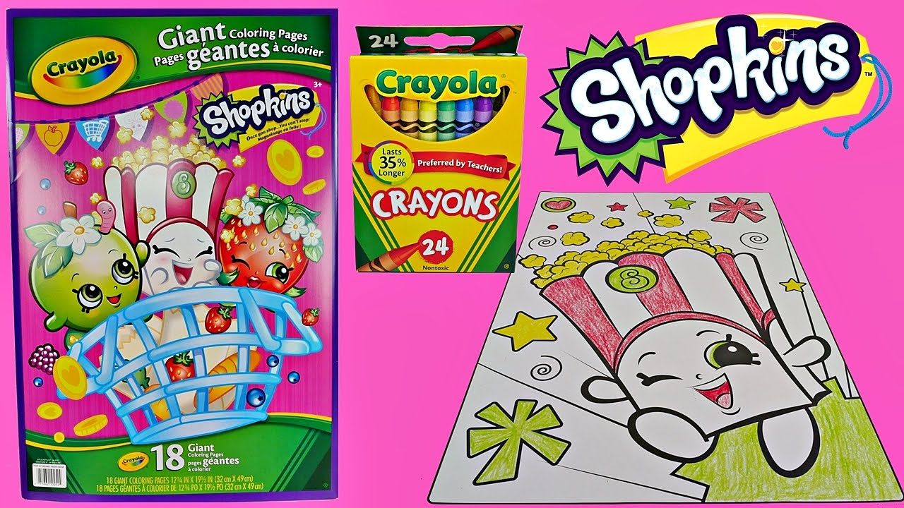 Fun SHOPKINS Speed Coloring POPPY CORN W Crayola Crayons