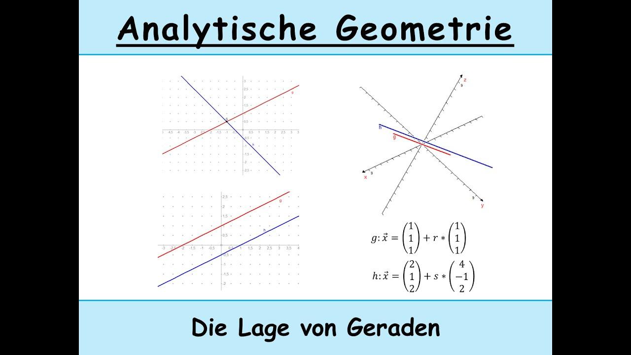 Lage von Geraden: identisch, echt parallel, schneidend, windschief ...