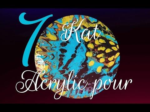 (7) Acrylic pour | iKat | fluid art Acrylic pour painting cells spin
